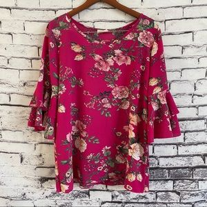 Free Kisses Pink Floral Printed Bell Sleeve Blouse